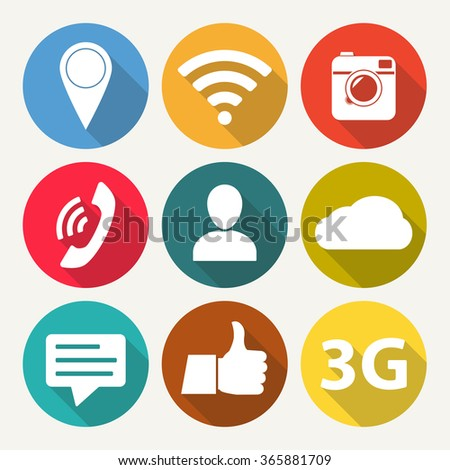 Social network icon set. Media network symbols in flat design with long shadow. #365881709