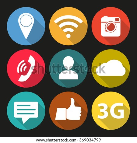 Social network icon set. Media network symbols in flat design with long shadow. #369034799