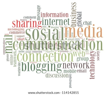 social network info-text graphics and arrangement concept on white background (word cloud)