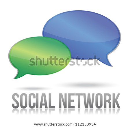 social network message bubble illustration design over white