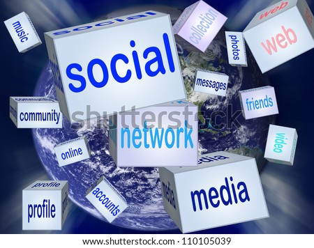 Social network or social media concept. Elements of this image furnished by NASA