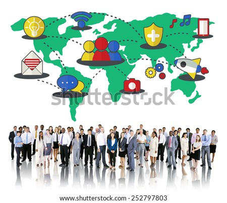 Social Network Sharing Global Communications Connection Concept
