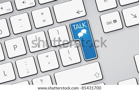 social network sign - forum 3d button - white keyboard