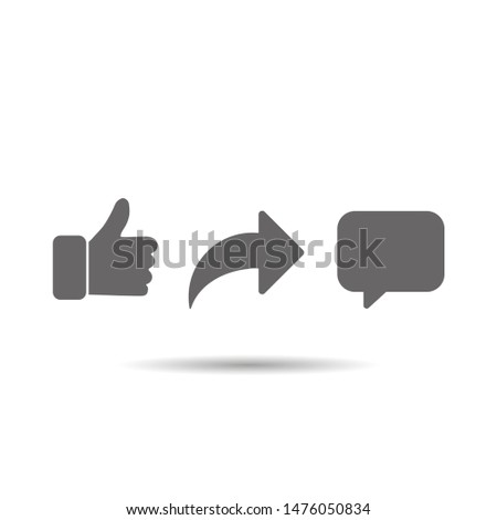 Social network signs abstract vector thumb up comment share icon set Stock photo ©