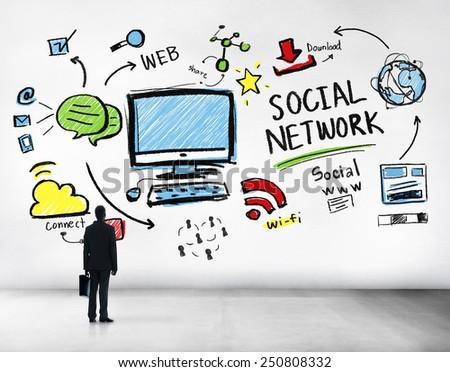 Social Network Social Media Businessman Goals Aspiration Concept