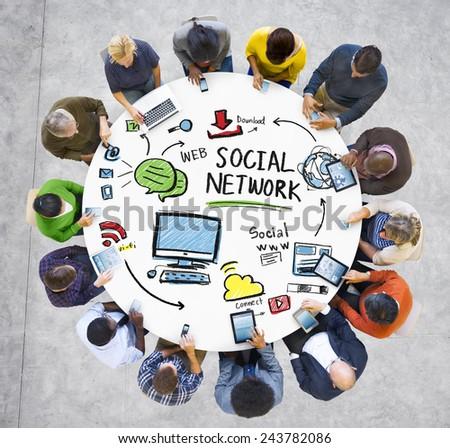 Social Network Social Media Technology People Communication Concept