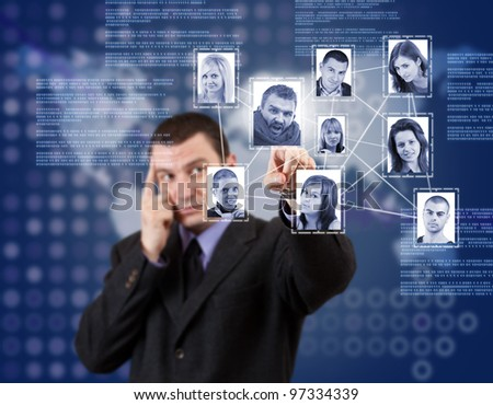 social network structure in digital futuristic blue background