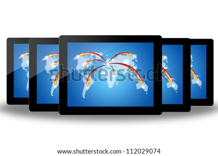 social network structure in tablet pc, isolated on background white