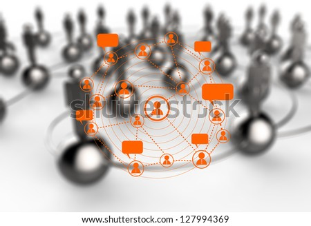 social network symbol and 3d as concept