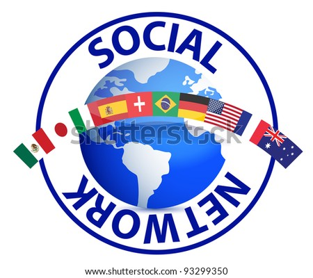 Social network text around earth globe illustration design on white