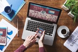 Social network user login, website mock up on computer screen, tablet and smartphone