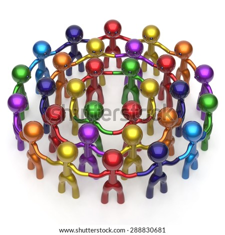Royalty Free Men Characters Large Circle Crowd 296381450 Stock