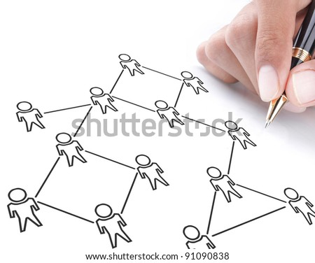 social networking concept drawn on white board