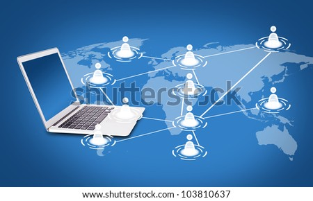 Social networking concept, laptop, map, the exchange of information between participants
