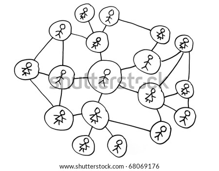 Social networking diagram on white background