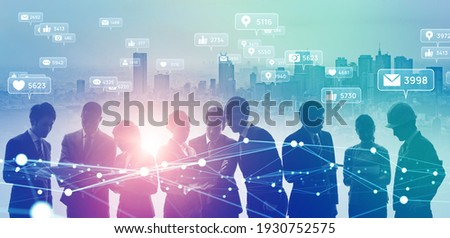 Social networking service concept. Group of people. Connection.