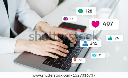 Social networking service concept. Influencer marketing. Photo stock ©