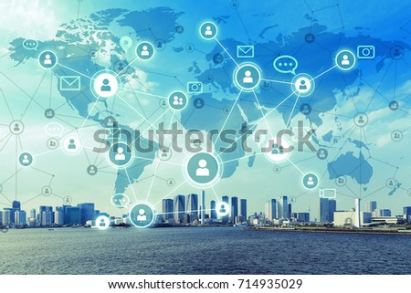 Social networking service concept. Worldwide connection. Mixed media. #714935029