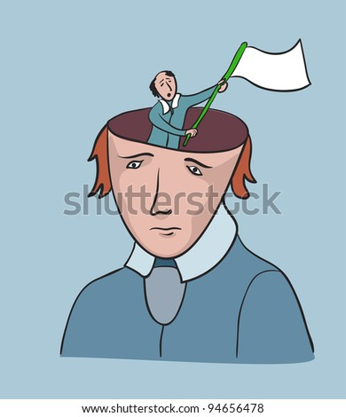 Social problem of human freedom. Creative concept, man with surrender flag - stock photo