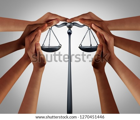 Social security and law welfare government benefits with a group of diverse people holding a justice scale with 3D illustration elements.