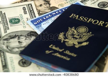 social security card, a passport and several dollar notes