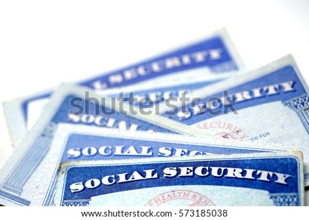 Social Security Cards for identification and retirment USA #573185038