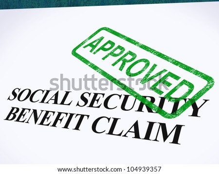 Social Security Claim Approved Stamp Showing Social Unemployment Benefit Agreed