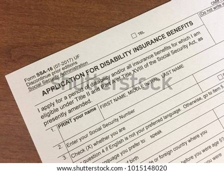 Social Security Disability Form | Social Security Disability Insurance Application Sitting On A Desk