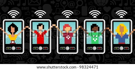Social team with cell phone connection on black pattern background.