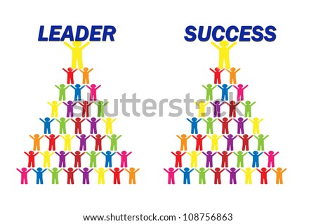 Social Worker Group Hold Leader and Success Word - stock photo