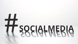 SOCIALMEDIA hashtag on light background. Social media concept