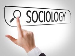 Sociology written in search bar on virtual screen