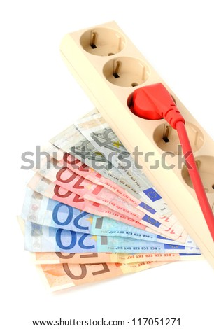 Socket and plug with Euro money