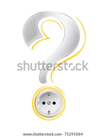 Socket - electricity concept with power outlet, question mark and abstract yellow sun - energy query