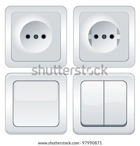 sockets and switches isolated on white - stock photo