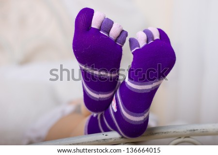 Socks girl finger shaped and colored