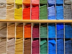 Socks on shelves in shop