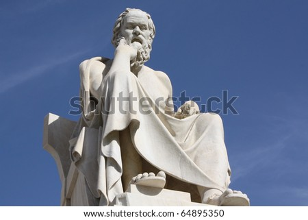 Socrates in Athens. Neoclassical statue of this ancient Greek philosopher in front of the National Academy of Athens, Greece.