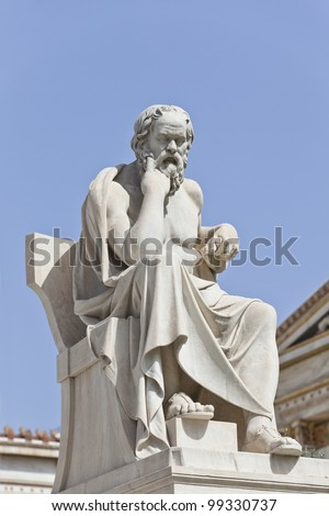 Socrates in front of the National Academy of Athens, Greece