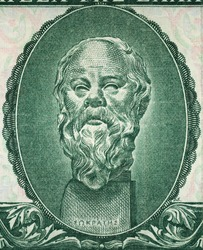 Socrates portrait on old Greece 500 drachma (1955) banknote close up. Famous Ancient Greek philosopher, one of the founders of Western philosophy. Teacher of Plato. Vintage engraving.