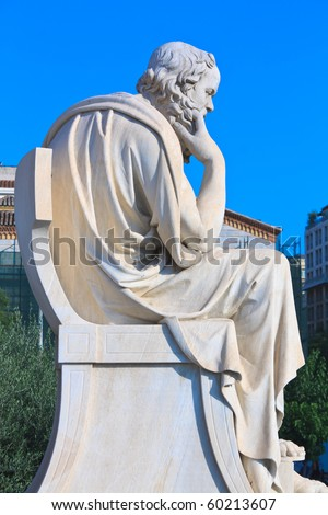 Socrates statue in thinking position