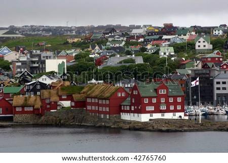 Sod Rooftops of Torshavn, Faroe Islands, Denmark