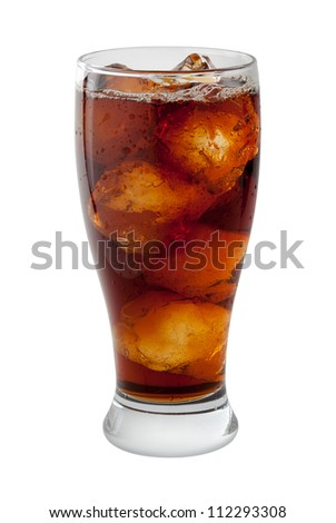 Soda Cola with Ice Isolated on white with a clipping path - stock photo