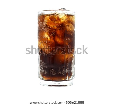 Soda glass with ice cubes isolated on white background