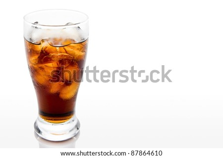 Soda in a glass with white background