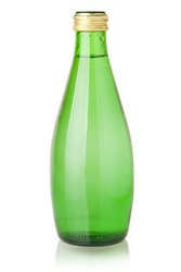 Soda water in glass bottle. Isolated on white