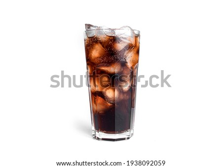 Soda with ice in a transparent glass isolated on a white background. High quality photo Stockfoto ©