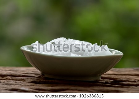 Sodium hydroxide, Chemical compound Ingredients for making soap.