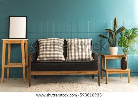 sofa and accessories in living...