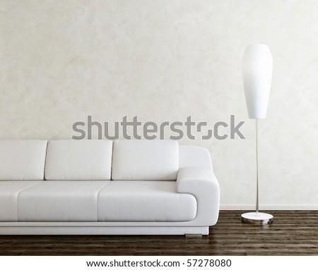 sofa and lamp in bright interior